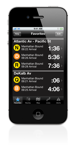 iPhone app showing subway stations and time to the next scheduled arrival